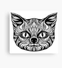 muzzle cat head, tattoo graphics, vector illustration Canvas Print