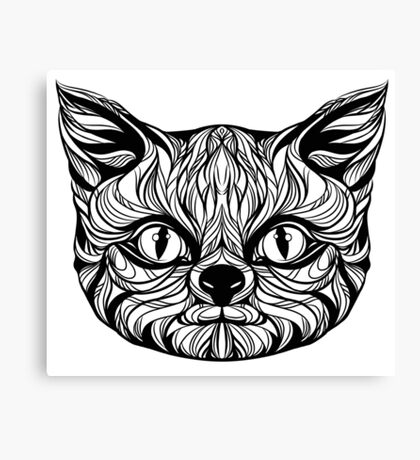 muzzle cat head, tattoo graphics, vector illustration Canvas Print