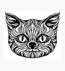 muzzle cat head, tattoo graphics, vector illustration Photographic Print