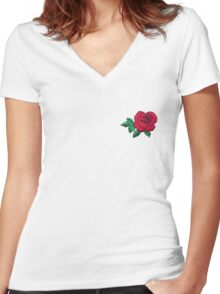 Embroidered Rose Women's Fitted V-Neck T-Shirt
