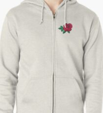 Embroidered Rose Zipped Hoodie