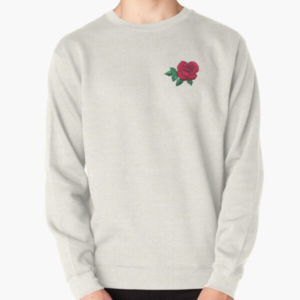 Embroidered Rose Pullover Sweatshirt