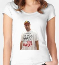 Adam Sandler With Troll Face  Women's Fitted Scoop T-Shirt