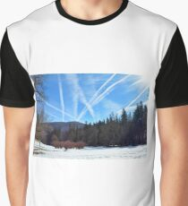 Winter scene in the forest at the mountains with cloudy sky Graphic T-Shirt