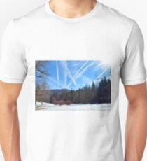 Winter scene in the forest at the mountains with cloudy sky T-Shirt
