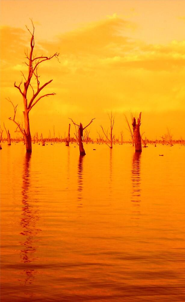 sunset lake by yellowcar9