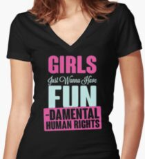 Girls Just Want To Have Fundamental Rights Women's Fitted V-Neck T-Shirt