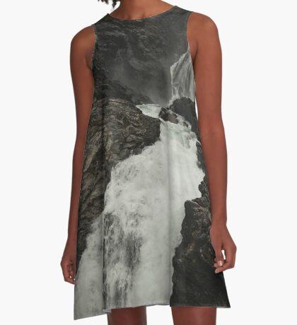 Wildwasser A-Linien Kleid