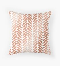 Rose gold hand painted chevrons Throw Pillow
