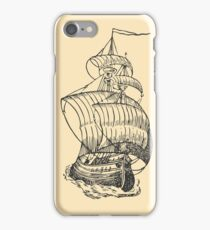 Sailing ship drawing iPhone Case/Skin