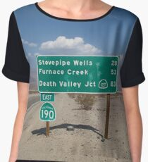 Death Valley Road Sign Chiffon Top