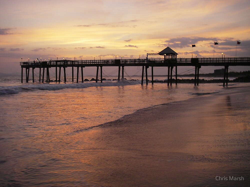 Costa Rican Sunset Pier by Chris Marsh