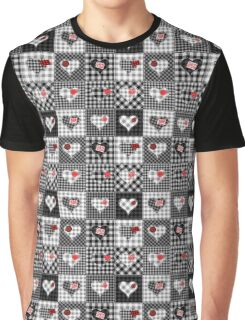 Checkered Heart Patchwork Graphic T-Shirt