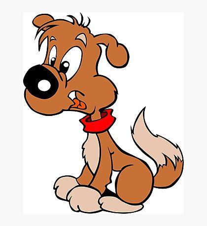Cute Funny Brown Cartoon Dog Sitting - Dog Lover Design Photographic Print