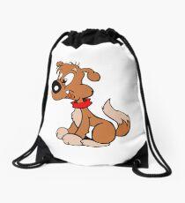 Cute Funny Brown Cartoon Dog Sitting - Dog Lover Design Drawstring Bag
