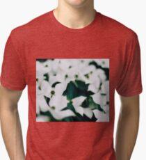 White elegant floral Tri-blend T-Shirt