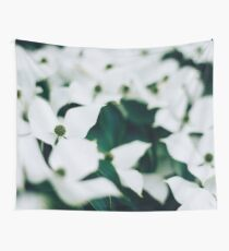 White elegant floral Wall Tapestry