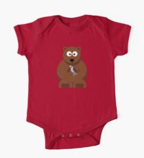 Cool Funny Cartoon Bear Holding A Fish - Cool Fishing T Shirts and Gifts One Piece - Short Sleeve