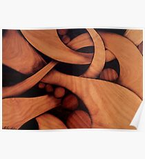 Abstract fantasy marquetry art picture of wood Poster