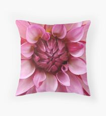 Pink closeup of Dahlia in water color Throw Pillow