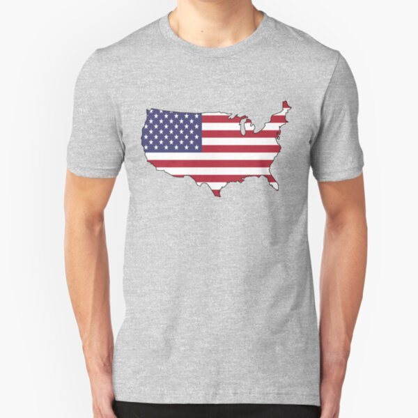 USA - American Flag and Country Outline Slim Fit T-Shirt