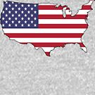 USA - American Flag and Country Outline by HandDrawnTees
