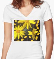 Yellow flowers  Women's Fitted V-Neck T-Shirt