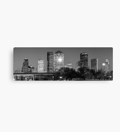 Black and White Houston Texas Downtown Skyline Panorama Canvas Print
