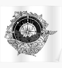 Compass and Whale Poster