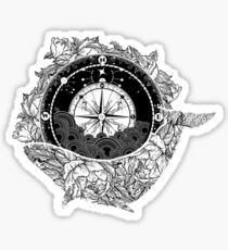 Compass and Whale Sticker