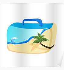 tropical island suitcase-shaped beach Poster