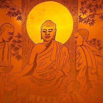 Artwork of Buddha with halo art photo print by ArtNudePhotos