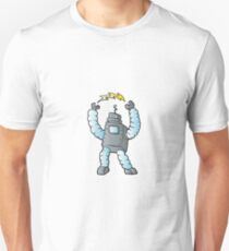 cartoon blue eletric robot  Unisex T-Shirt