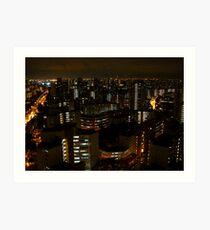 night view towards Jurong Island - Singapore Art Print