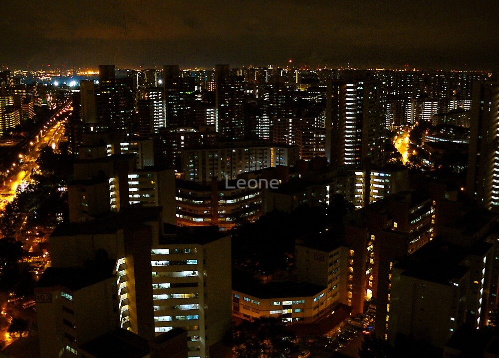 night view towards Jurong Island - Singapore by Leone Fabre