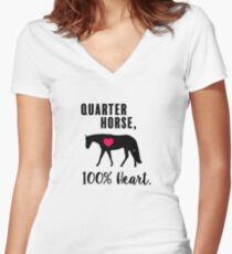 Quarter Horse, 100% Heart! - Western Pleasure Edition Women's Fitted V-Neck T-Shirt