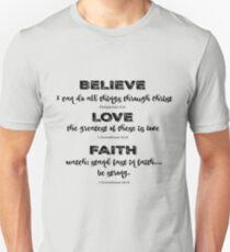 Believe, Love, Faith Bible Verses Unisex T-Shirt