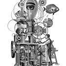Steampunk surreal machine by Denys Golemenkov