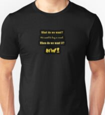 "Gold lettering with the message ""We Want A Vowel"". Unisex T-Shirt"