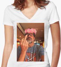 Jeffrey Dean Morgan Blumenkrone Shirt mit V-Ausschnitt