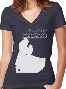 Tale as old as time (White) Women's Fitted V-Neck T-Shirt