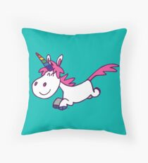 Galloping Cartoon Unicorn by Cheerful Madness!! Throw Pillow
