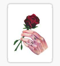 hand & rose Sticker