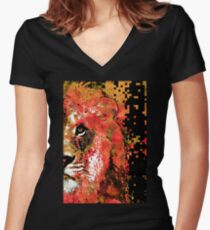 Red Lion Half Face by Sharon Cummings Women's Fitted V-Neck T-Shirt