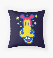 Smiling Cartoon Horse by Cheerful Madness  Throw Pillow