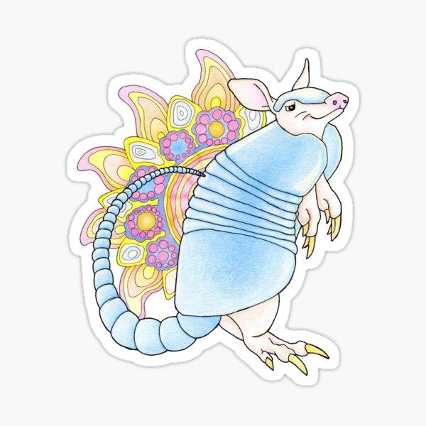 Armadillo Mandala, happy smiling animal Sticker