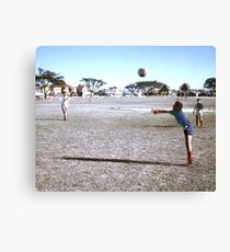 Eyes on the ball. Toes behind the line. Fingers...... Canvas Print
