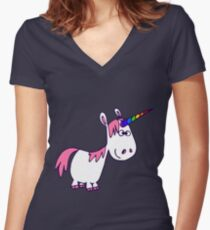 Cute Rainbow Cartoon Unicorn by Cheerful Madness!! Women's Fitted V-Neck T-Shirt