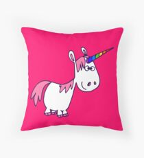 Cute Rainbow Cartoon Unicorn by Cheerful Madness!! Throw Pillow