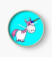 Cute Rainbow Cartoon Unicorn by Cheerful Madness!! Clock